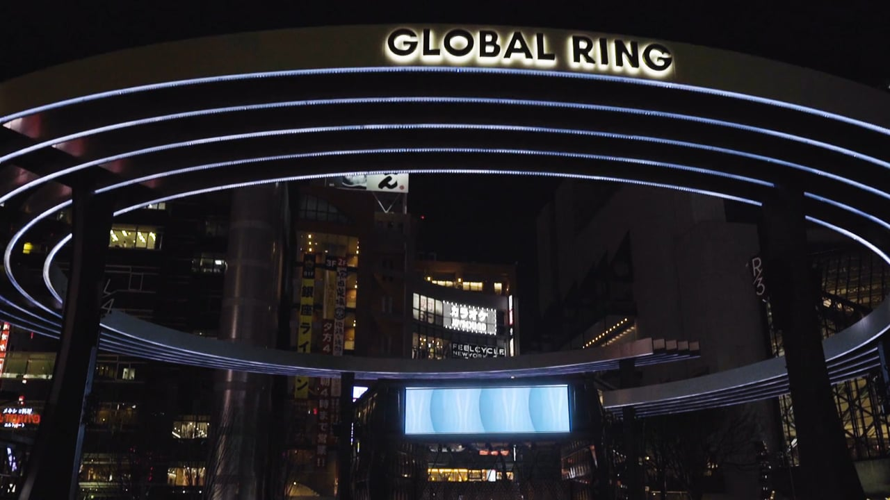 """Blue Parclock"" Audio Visual Installation at Global Ring in Ikebukuro"